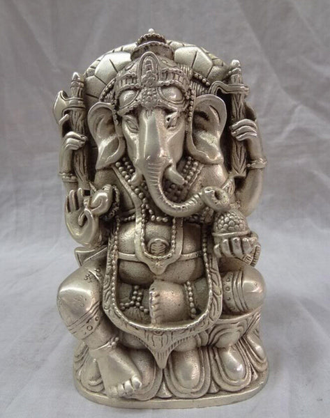4 Arms Lord Ganesha / Lord Ganapati Copper Bronze Statue - HolyHinduStore