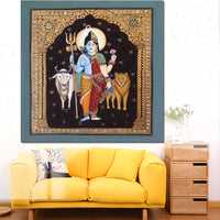 Lord Shiva Portrait Oil Painting - Shiva-Shakthi  HD Prints and Posters Modern Wall Picture - HolyHinduStore