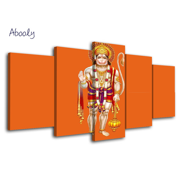 5Piece Canvas Art Hindu God Hanuman Painting Wall Decoration Art Poster - HolyHinduStore