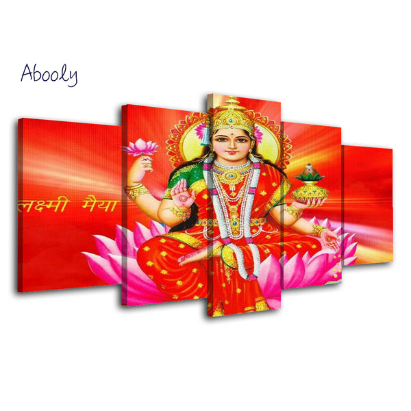 5Piece Wall Art Hindu God Laksmi Painting Wall Posters Canvas Art Print Posters - HolyHinduStore