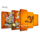 5Piece Canvas Poster Art Painting Picture Home Decor Hindu Gods Hanuman Poster Wall Prints - HolyHinduStore
