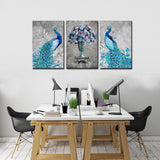 Peacock, Flower Printed Canvas Painting Wall Art – 3 Panels / Modern / Blue Gray - HolyHinduStore