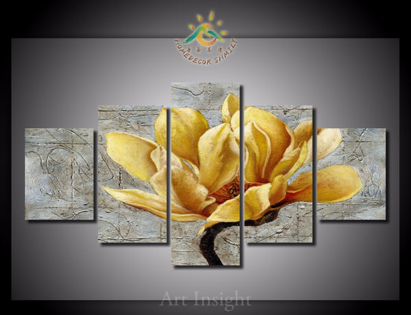HD Wall art Golden Flowers -  Canvas for Home Decoration Natural Wall Art Picture for Living Room - HolyHinduStore