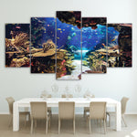HD Painting wall art  Modular 5 Panel Underwater Sea Fish Coral Reefs  Natural - Wall Art Canvas Modern Pictures - HolyHinduStore