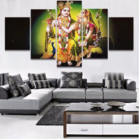 God Of India Radha Krishan with flute - Canvas Landscape Poster Home Decor Living Room Modular Pictures - HolyHinduStore