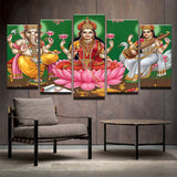 5 Panel Lord  Ganesha Lakshmi Saraswathi-  Decor New Wall Art Canvas Painting Picture Poster Wall Pictures - HolyHinduStore