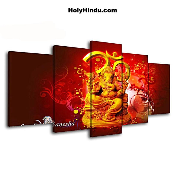 5-Piece Canvas Art Lord Ganesha Poster - HolyHinduStore