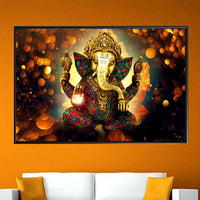 Lord Ganesha Canvas Paintings For Living Room / Hindu God Of Wealth Poster - Superior Quality