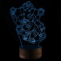 3D - Ganesha Light Art Desk Lamp With Remote