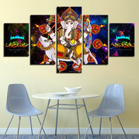 Lord Ganesha Painting - Superior Quality Canvas HD Printed Wall Art Poster 5 Pieces / 5 Panel Wall Decor, Home Decor Pictures (HHLG19M01)