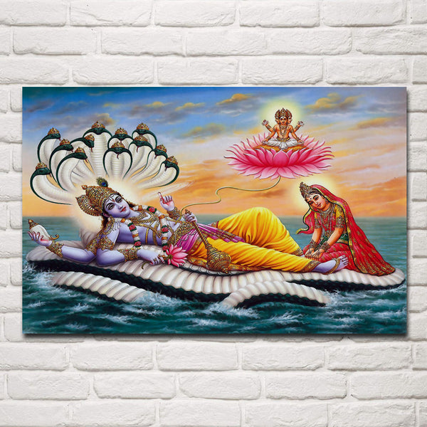 Lord Krishna / Vishnu on Sea and Snake Wall Frame