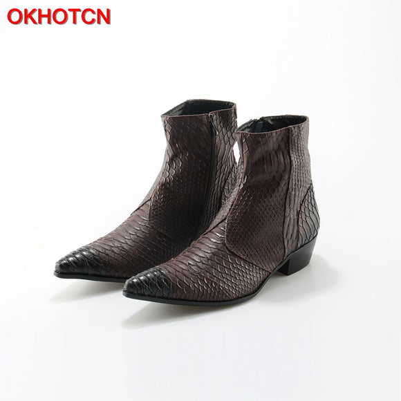 Embossed Genuine Leather Men's Boots - 17092703