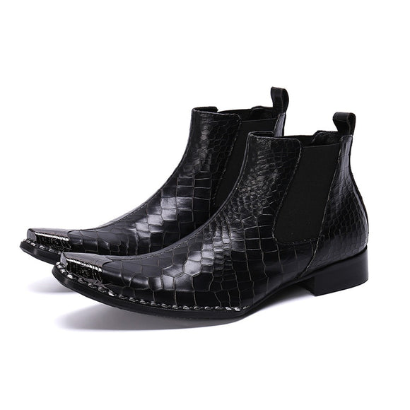 Leather Men's Black Boots - rousmery-H19082401