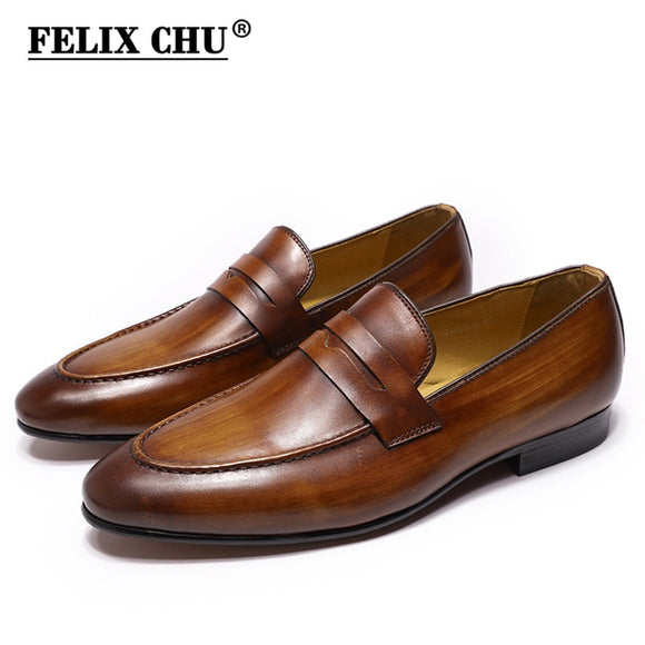Elegant Hand-Painted Casual Genuine Men's Leather Shoes - Felix Chu-125-101