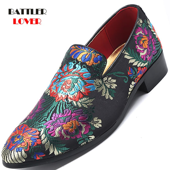 embroidery Loafers casual fashion men's shoes - BATTLERLOVER-NZ264