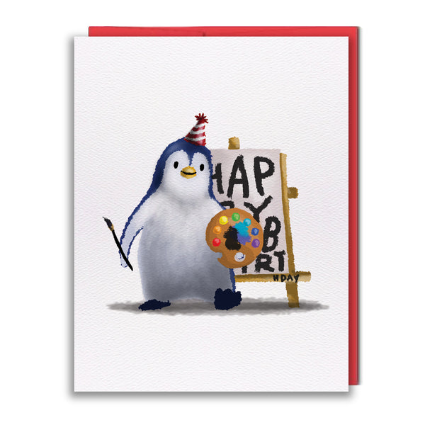 Card - Penguin Painting