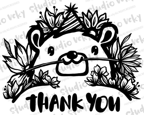 Digital Stamp - Thank You Bear