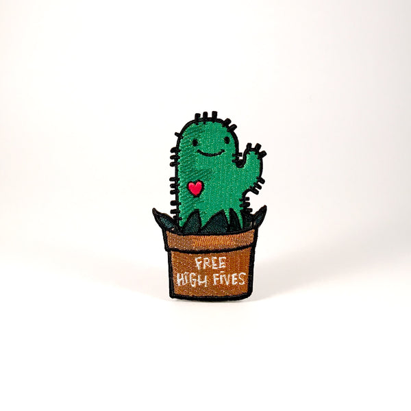Iron On Patch - Free High Fives Cactus