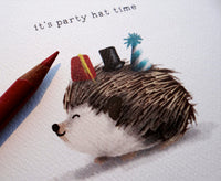 Card - Hedgehog Party Hat Time