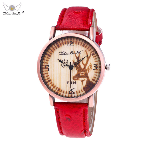 Woodland Creatures Deer Leather Band Quartz Watch
