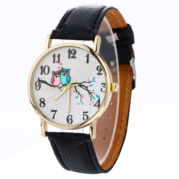 Woodland Creatures Owls in Love Leather Watch