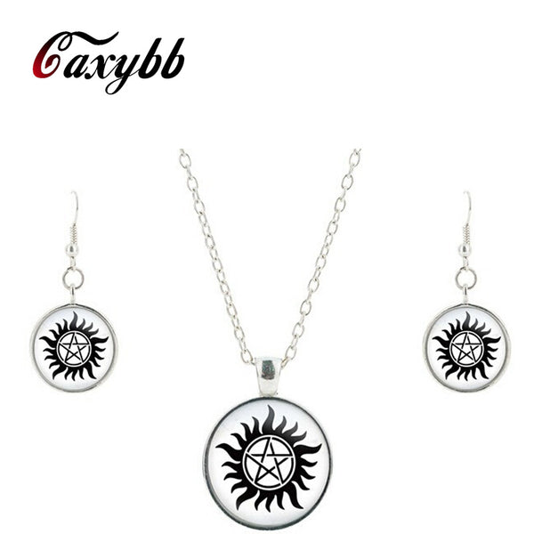 Supernatural Sam Dean Winchester Seal Silver Glass Jewelry Set