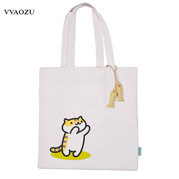 Neko Atsume Canvas Shoulder Bag with Fish Pendants