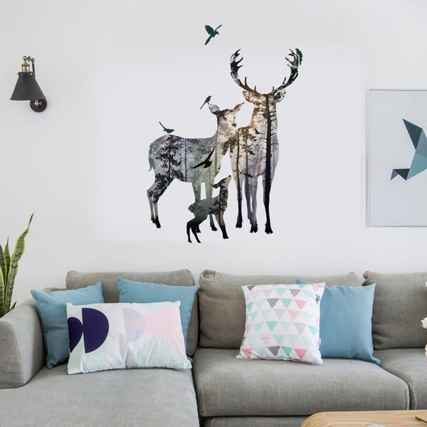 Woodland Creatures Deer Family Wall Sticker