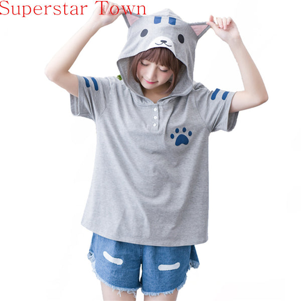 Neko Atsume Summer Casual Hooded T Shirt With Cat Ears