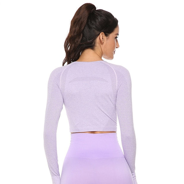 Seamless Fitness Crop Sports Top w/ Thumb Holes