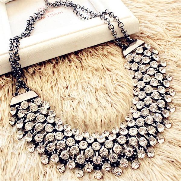 Vintage Rhinestone  Steampunk  Statement Crystal Necklace