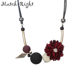Statement Flower & Wood Beads Necklace