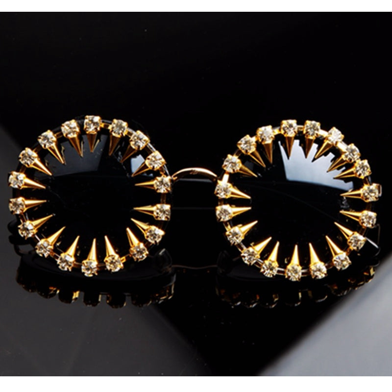 Steampunk designer sunglasses  Rhinestone Round Women Sunglasses Unique Style UV400