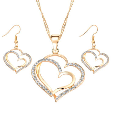 Romantic Heart Pattern Crystal Earrings & Necklace Set