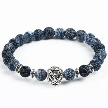 Beatiful natural stone bracelet with leopard, lion and owl charms