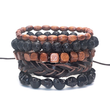 Black Bamboo wood, Lava Stone beads bracelet