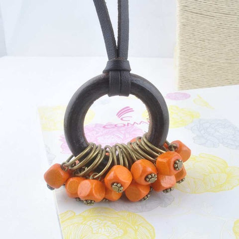 New Statement necklace with Wooden Beads