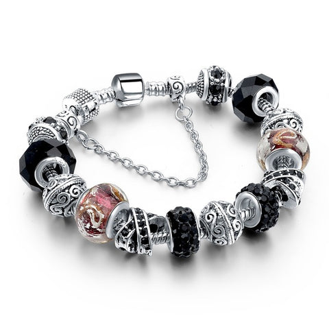 New Crystal Silver Plated Charm  Bracelet