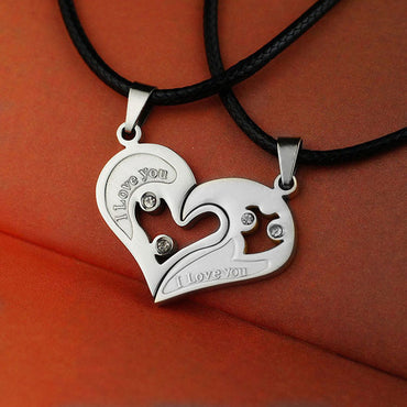 Unisex 'I Love You' Heart Shape Pendant Necklace