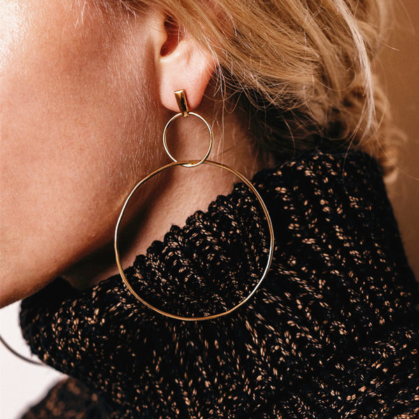 Round Circle Gold Hoop Earrings