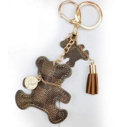 Tassel Key Ring PU Leather Bear