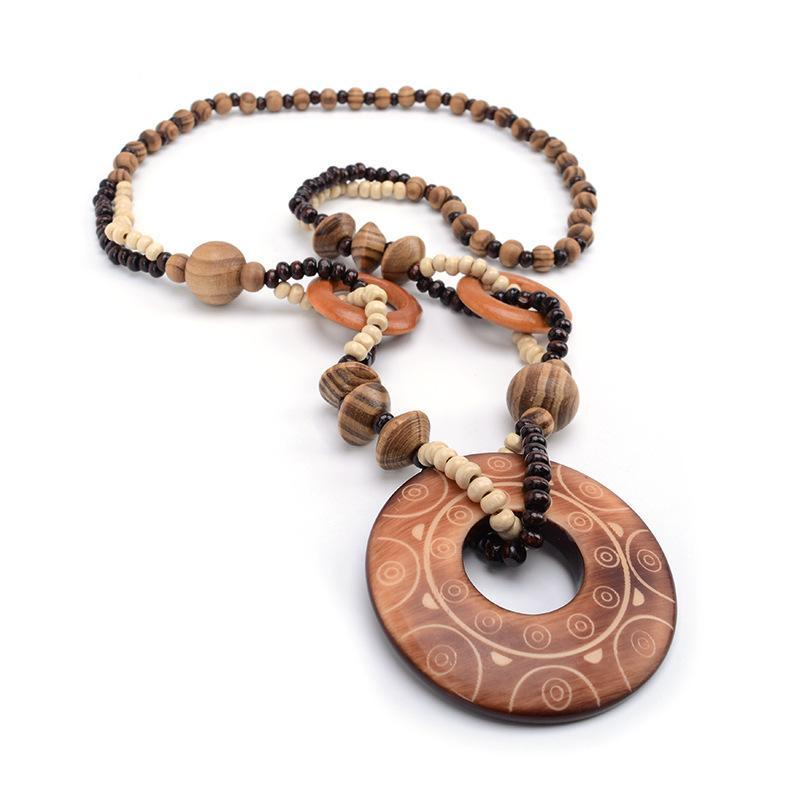 Hand Carved Exotic Hollow Round Woody Beaded Pendant Necklace