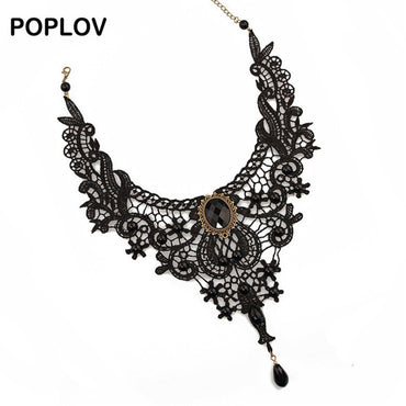 Glorious! Vintage Black & White Lace Choker Necklace