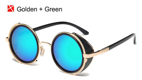 Vintage Women Steampunk Retro Round Sunglasses