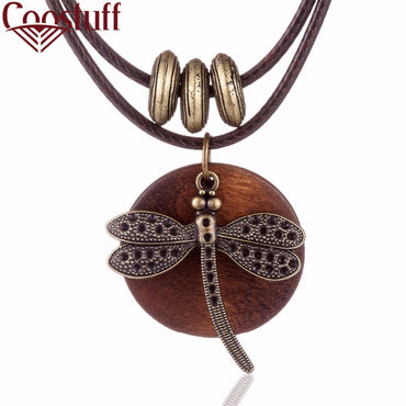 Dragonfly Boho Wooden pendant Long necklace