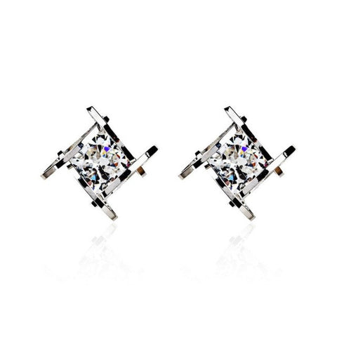 Square zircon earrings
