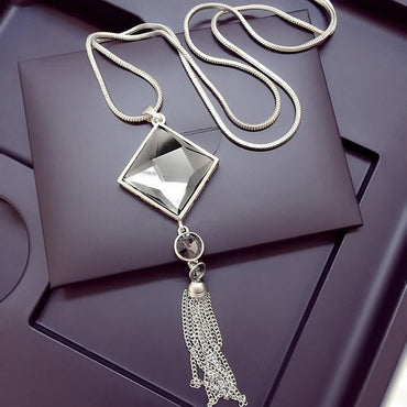Striking! Square Pendant Necklace - Big Drop Crystal  & Long Chain