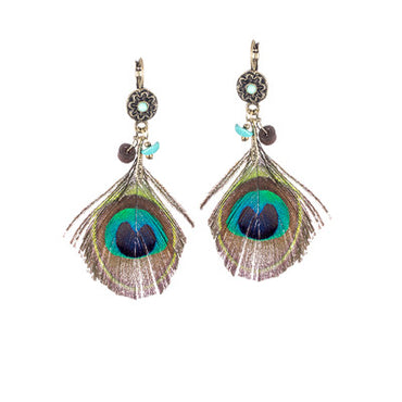 Boho Ethnic Feather Earrings  with Wooden Beads & Peacock Feather