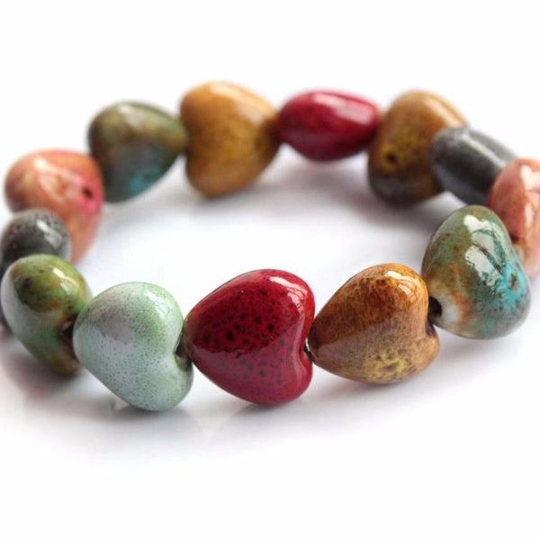 Hot for 2018 - Unique Heart Shaped Vintage beads bracelet