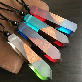 Handmade Resin Wood Necklaces Long Rope